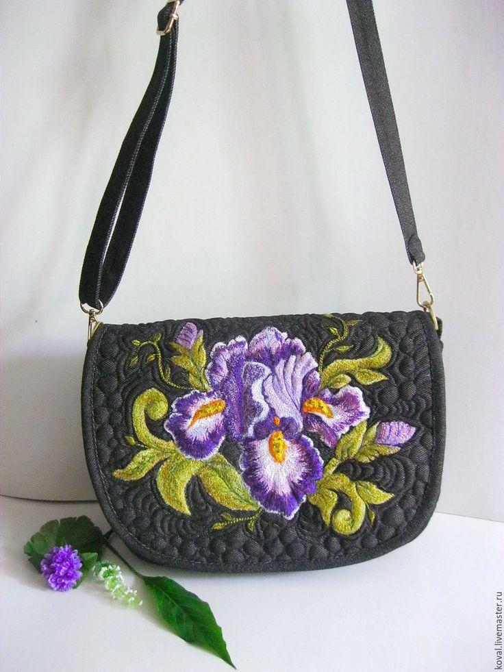 Купить Ночные ирисы Вышитая сумка - комбинированный, цветочный, вышитая сумочка, ночные ирисы, ирис