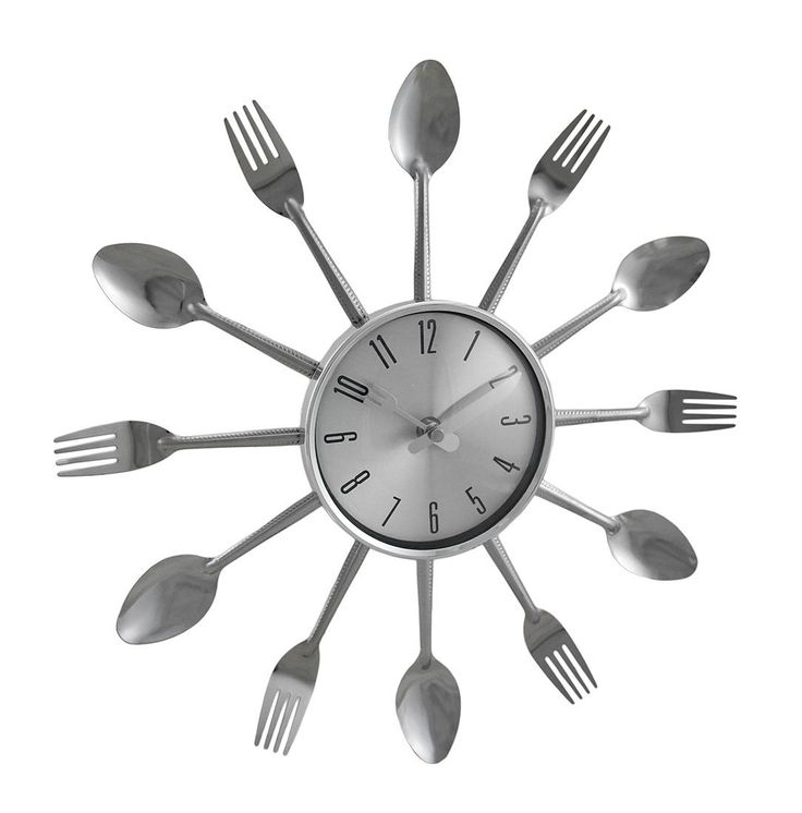Spoons And Forks Chrome Finish Decorative Wall Clock