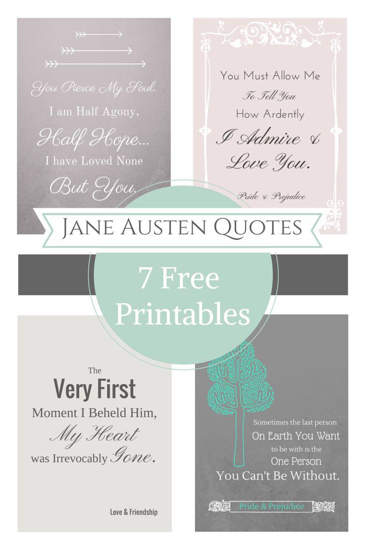 Jane Austen Free Printable Quotes                        http://domesticallyblissful.com/jane-austen-free-printable-quotes/                                             #JaneAusten #Quote #Printable