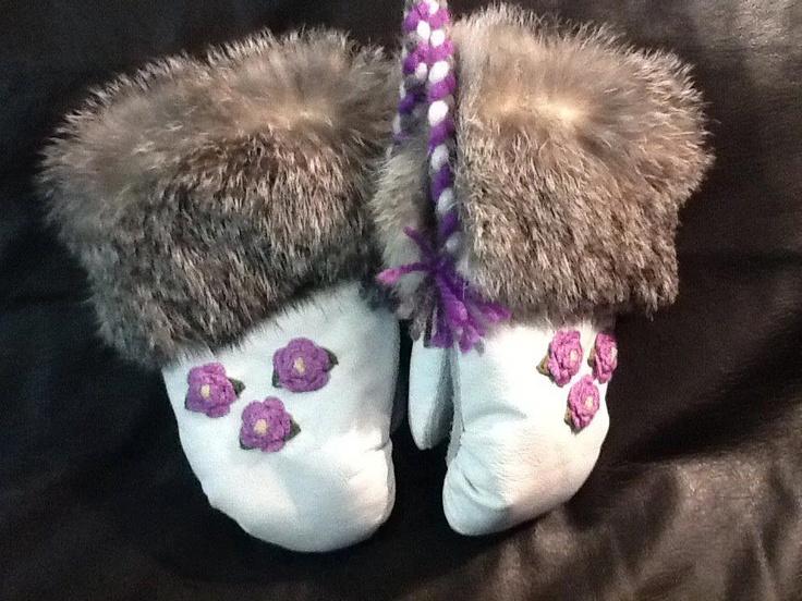 Inuit made mitts w/ fur trim by Stephanie Kasudluak