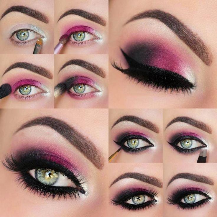 Mauillaje para ojos de color rosa con negro