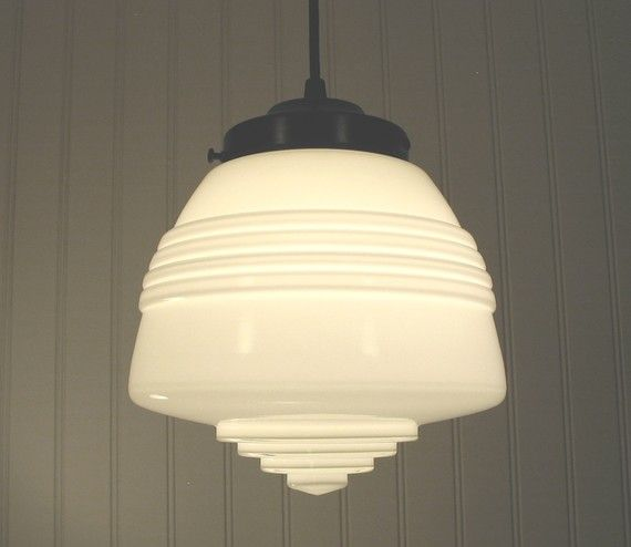 Machiasport Art Deco Milkglass Pendant Created New House Lightingbathroom