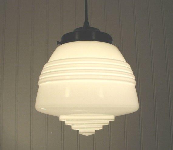 Machiasport. ART DECO Milkglass PENDANT by Lamp Goods