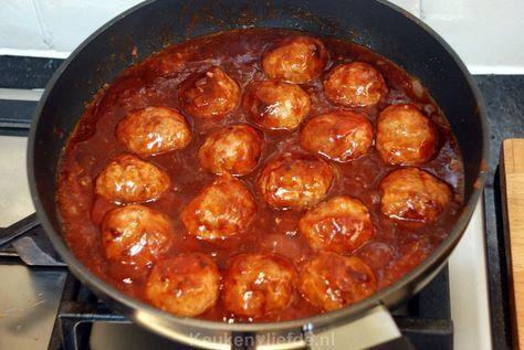 Ketjap gehaktballetjes in zoetzure saus - Keuken♥Liefde