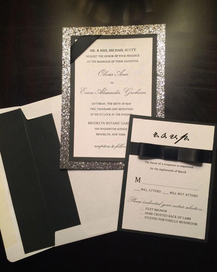 A Whimsical Glamorous Twist On The Clic Black Tie Formal Wedding Invitation Love