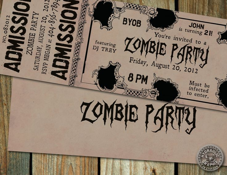 84 best zombie birthday party theme images on pinterest | zombie, Party invitations