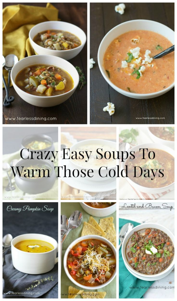 Hot Soups that are so easy to make on those cold days. Recipes at: http://www.fearlessdining.com/indexes/recipe-index/soups/
