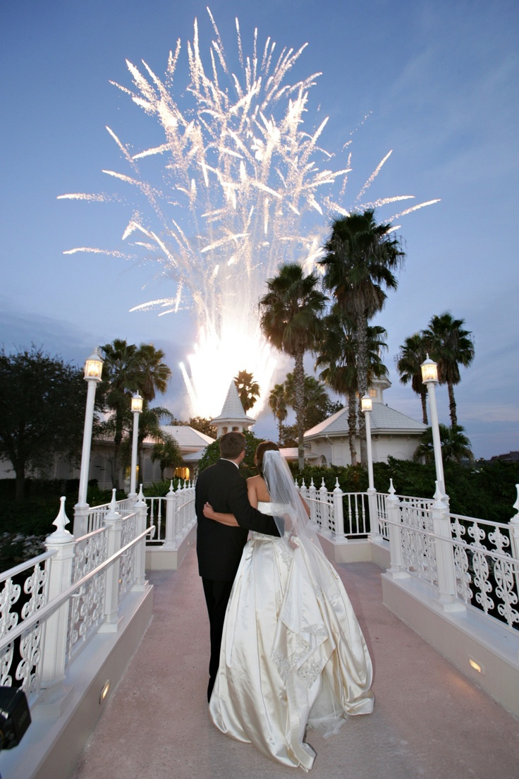 Weddings at disney parks and resorts - Fireworks In Front Of The Disneyworld Wedding Pavilion