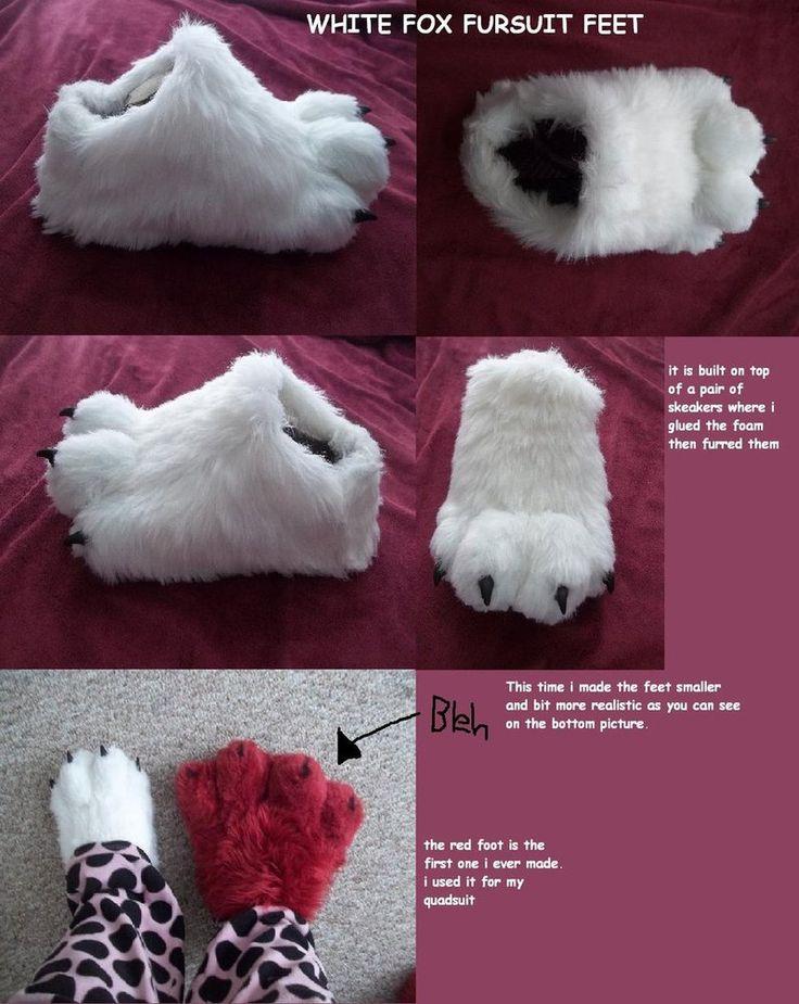 white fox fursuit feet paws by *AlieTheKitsune