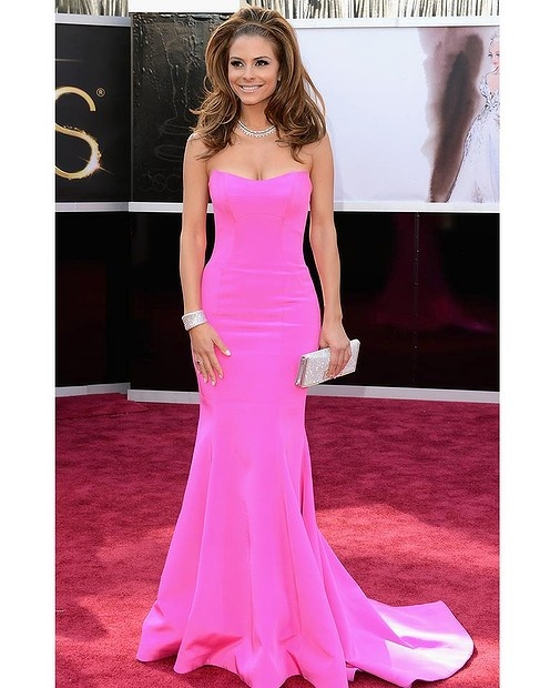 Maria Menounos attends the Oscars. Beautiful dress and accessories, its a shame the hair just doesn't work.