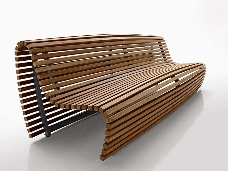 Titikaka Bench, teak lathes with an aluminum frame, by Japanese industrial designer, Naoto Fukasawa for B Italia naotofukasawa.com