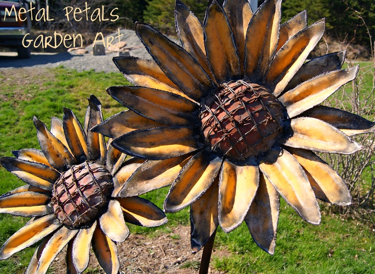 "Metal Sunflowers ""Gone Country"" made by Metal Petals Garden Art in Cape Breton N.S! Visit his facebook page: www.facebook.com/metalpetals"