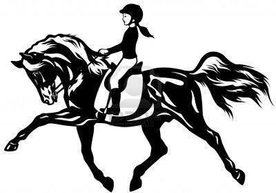 niño montando a caballo, imagen vista lateral en blanco y negro Foto de archivo