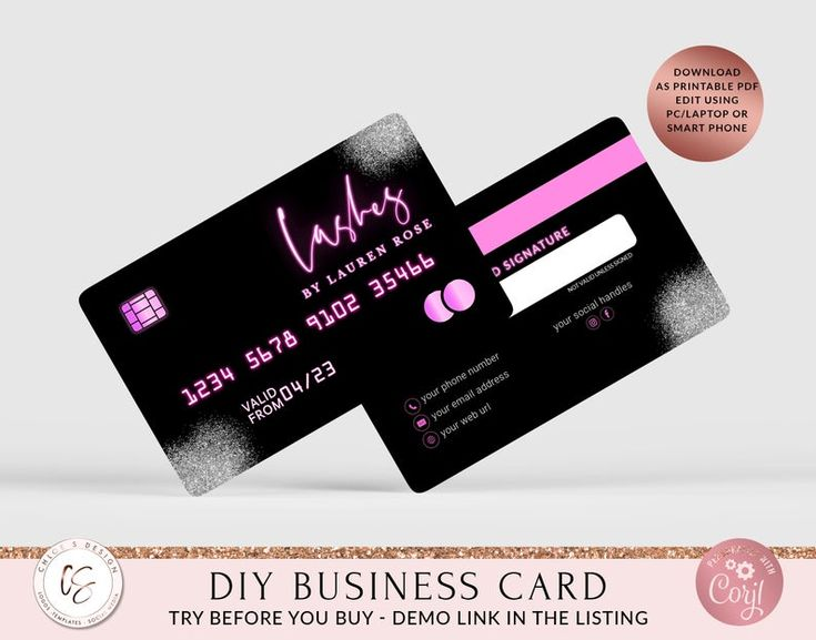 Diy credit card business cards business card template