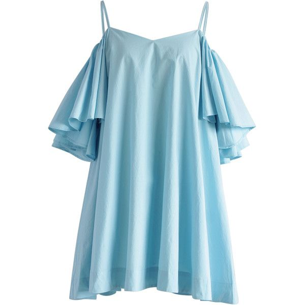 Frilling Great Cold-shoulder Dress in Blue ($70) ❤ liked on Polyvore featuring dresses, cold shoulder dresses, vintage style dresses, blue dress, blue polka dot dress and flounce dress