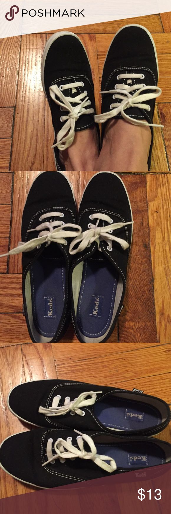 Black canvas Keds sneakers Black keds sneakers very comfy .. cute with a little cotton dress shorts or jeans .... used but in good condition ..... Keds Shoes Sneakers