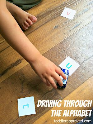 Toddler Approved!: Driving (and Riding) Through The Alphabet. A simple alphabet activity for toddlers on up. What are some fun ways that you have incorporated your child's favorite toy into daily learning activities?Kids Learning, Daily Learning, Toddlers Approved, Drive, Kids Ideas, Alphabet Activities, Learning Activities, Daycares Ideas, Abc Activities