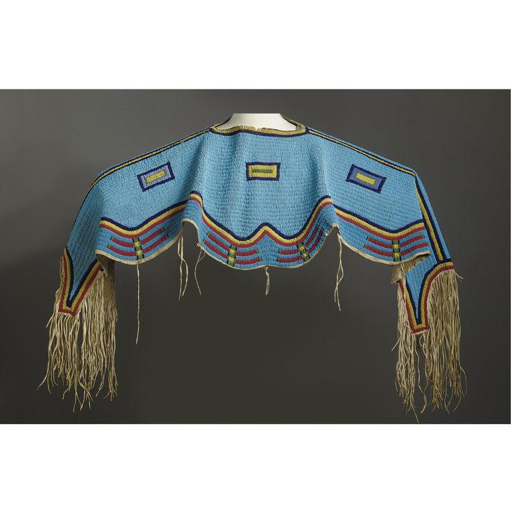 A Sioux Beaded and Fringed Hide Dress Yoke