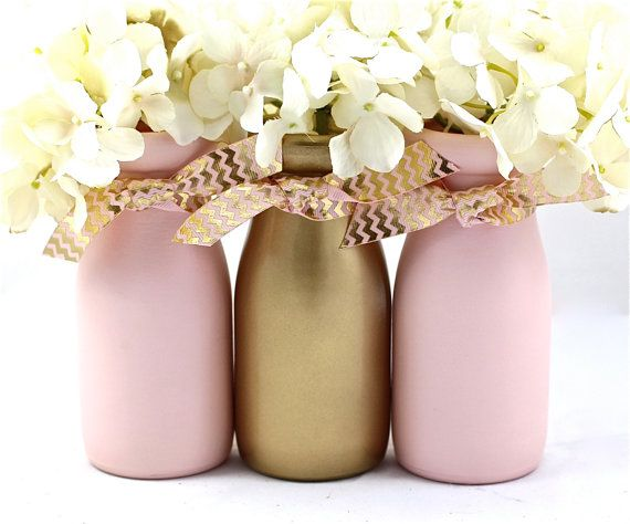 Pink and Gold Baby Shower Decor First Birthday Painted Milk Bottles by HalfPintPMB
