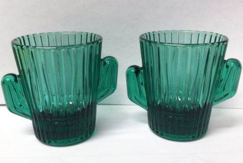 Cactus Shot Glass Set of 2 Libbey Saguaro Teal Green southwestern navajo cowboy in Collectibles, Barware, Shot Glasses | eBay