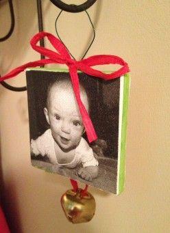 Print photos on canvas for Christmas ornaments!