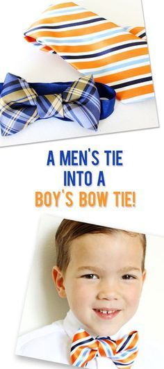 DIY fashion for boys. Make a Bow Tie From a Mens Necktie! Find the free sewing tutorial at http://howdoesshe.com