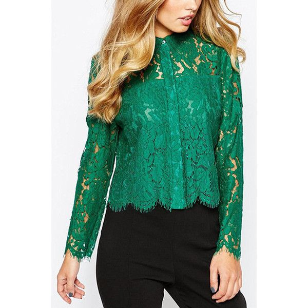Yoins Green Long Sleeves Lapel Neck Lace Hollow Shirt ($31) ❤ liked on Polyvore featuring tops, green, lace shirt, long sleeve tops, long sleeve going out tops, long sleeve shirts and going out shirts
