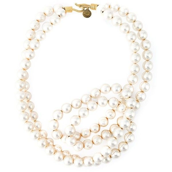 Stella McCartney pearl necklace found on Polyvore featuring jewelry, necklaces, white, white pearl jewelry, charm necklace, pearl jewellery, white jewelry and twisted pearl necklace