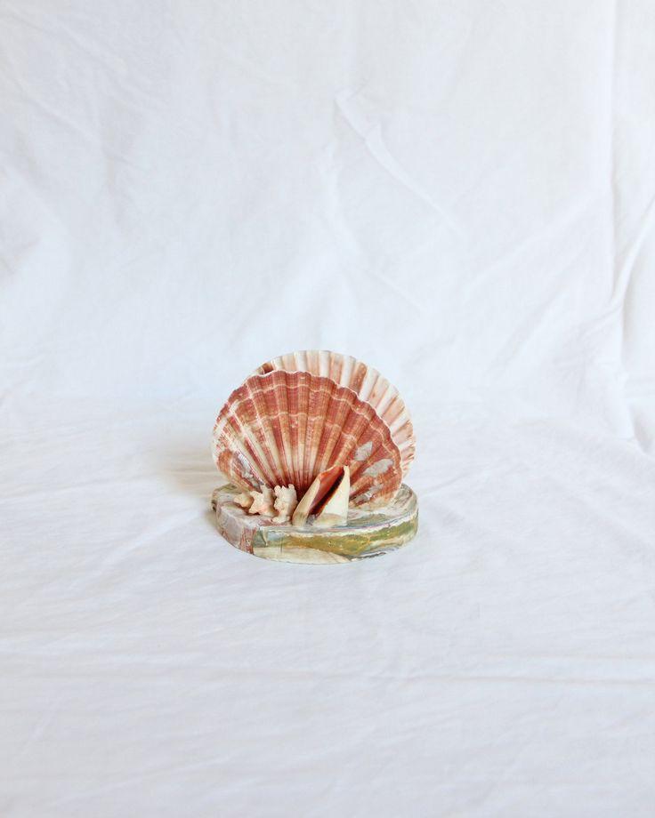 Vintage 70s Marbled Shell Napkin Holder or Desk Organizer
