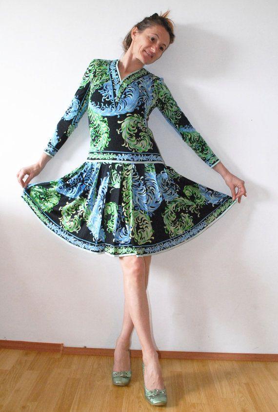 SALE PUCCI Dress Silk Jersey Dress 70s Pucci Silk by SoulSisters16