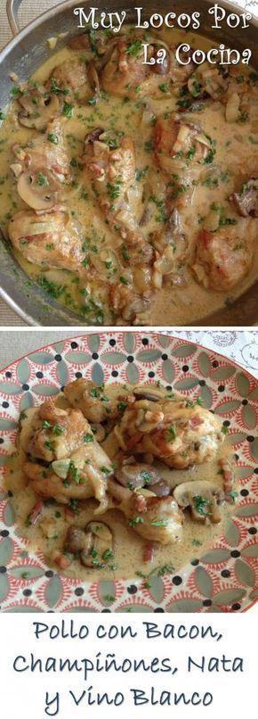 Pollo en Salsa de Champiñones, Bacon (panceta, tocino o tocineta), Nata y Vino Blanco: ¡Simplemente delicioso! Perfecto para acompañarlo de arroz, pasta o de un buen pan para mojar la salsa.