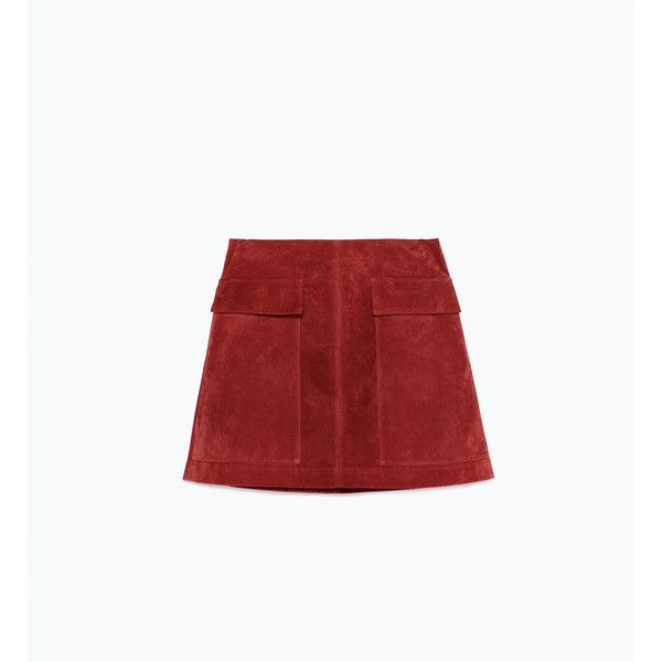 Zara Suede Skirt ($70) ❤ liked on Polyvore featuring skirts, zara, suede, dark red, zara skirts, white knee length skirt, suede skirt and white skirt