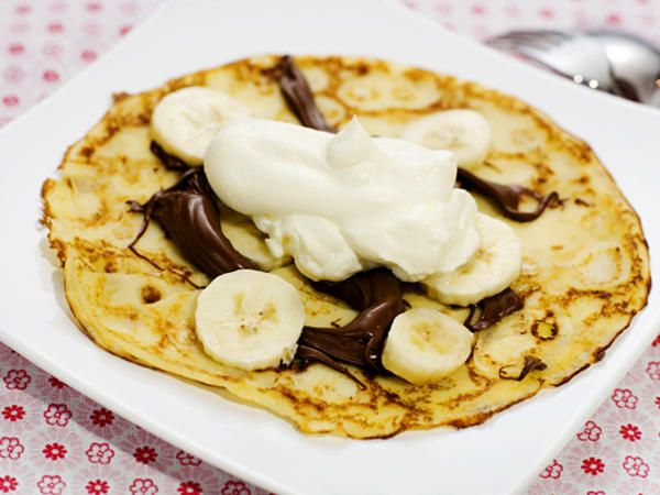 Crêpes med nutella, banan och grädde