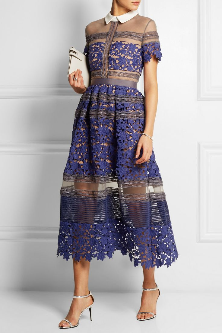 Liliana paneled floral-lace and mesh dress