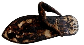 Tutankhamun's sandal decorated with bound prisoners and sema-tawy symbols  	Ancient Egypt,  Museum	The Egyptian Museum, Cairo  ,	Papyrus  Created	14th cen. BC  	Egypt.