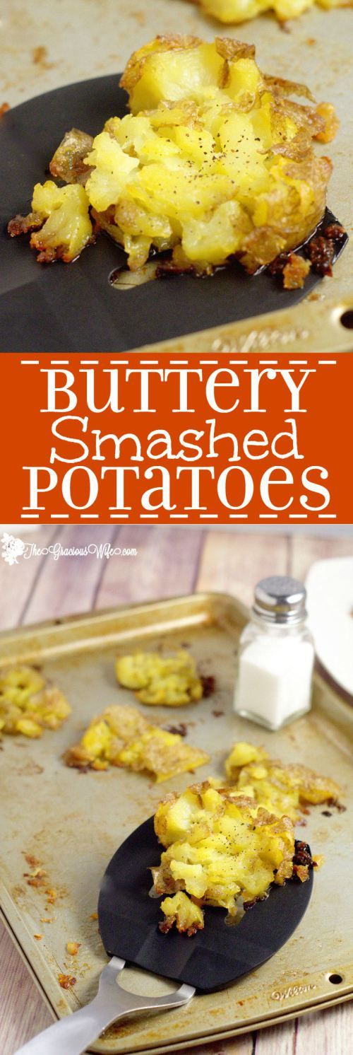 Buttery Smashed Potatoes Recipe are a super easy potato side dish recipe. Buttery, salty, and delicious!