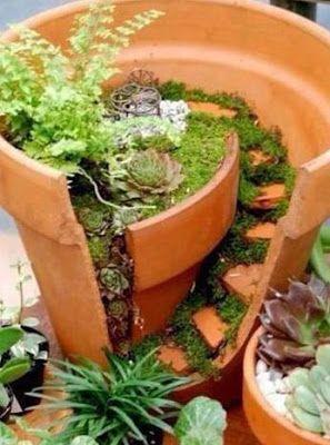 jardines pequeos en maceteros rotos