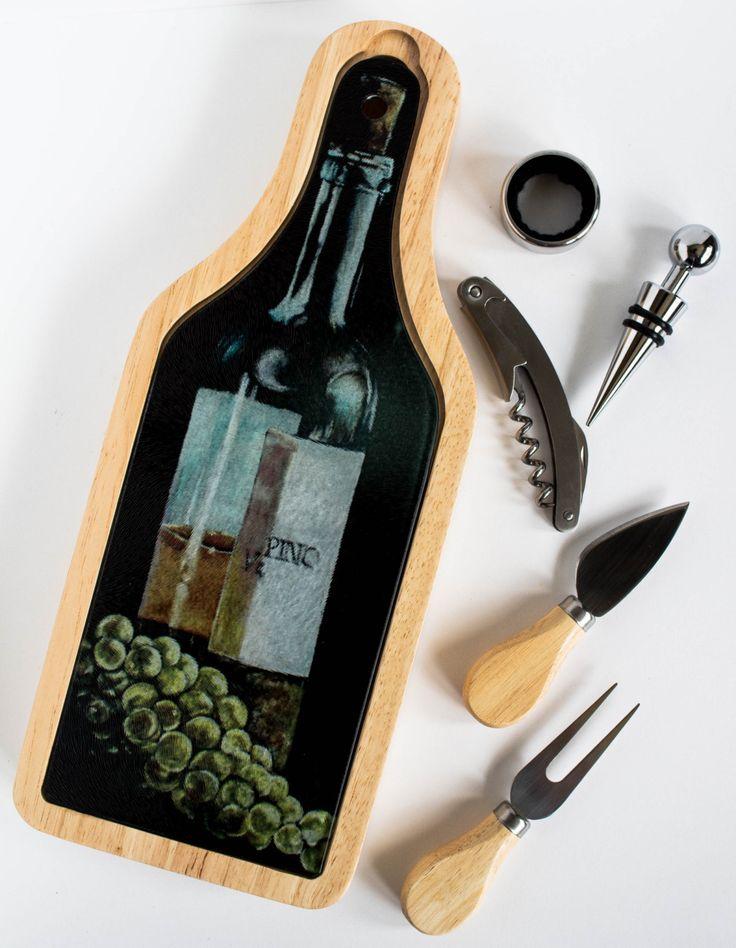 Wine and Cheese Gift Set - Barware - Wine Set -Vino - Wine Tasting - Wine Accessories - Executive Gift - Cheese Board - Cutting Board