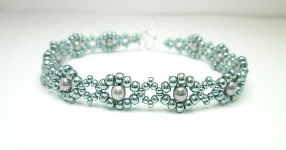 Mint and silver beadwoven bracelet seed bead by BuzzybeeBeading