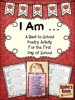 "Get your students writing and thinking on their first day of school.  This file contains a visually appealing ""I Am"" poem template for students to fill in about their first day of school.  There is one template for each of the grades from Kindergarten to grade 8.  Students can color the template when they have finished writing to make a welcoming Back To School bulletin board."