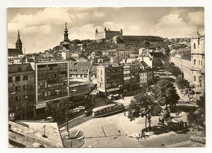 stamp and postcard: The look of Bratislava 2.11.circa 1966 hrad.hurbanovo namestie