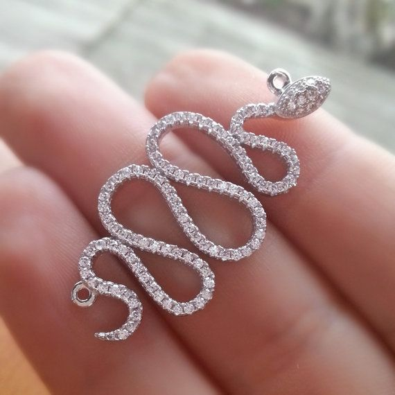 Sterling Silver Snake Connector CZ Pave by anatoliantalesupply