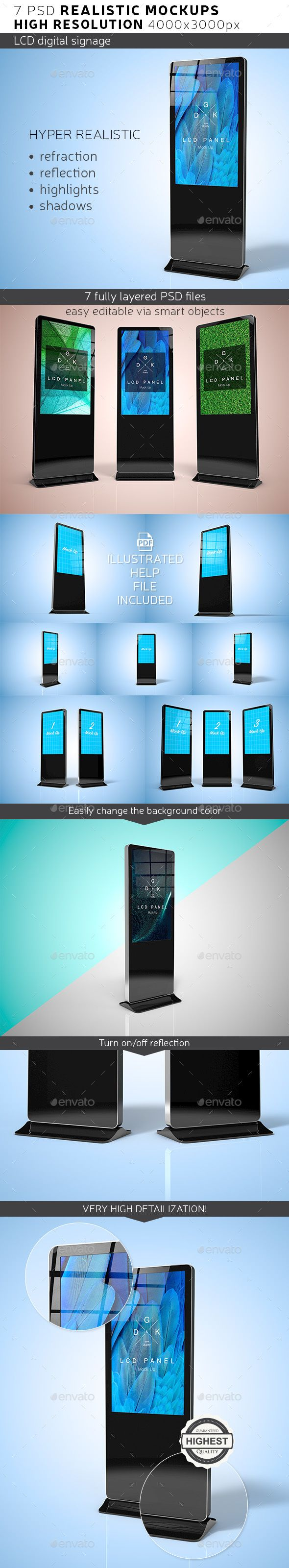 LCD Digital Signage Mockup — Photoshop PSD #show #mock-up • Available here → https://graphicriver.net/item/lcd-digital-signage-mockup/17741013?ref=pxcr