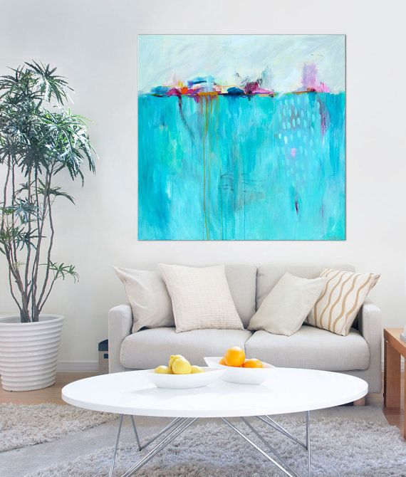 Coastal Abstract Painting Blue Marine Wall Art PRINT Large Original Print Contemporary GICLEE