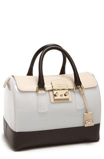 $498, White Rubber Satchel Bag: Furla Candy Medium Rubber Satchel. Sold by Nordstrom.