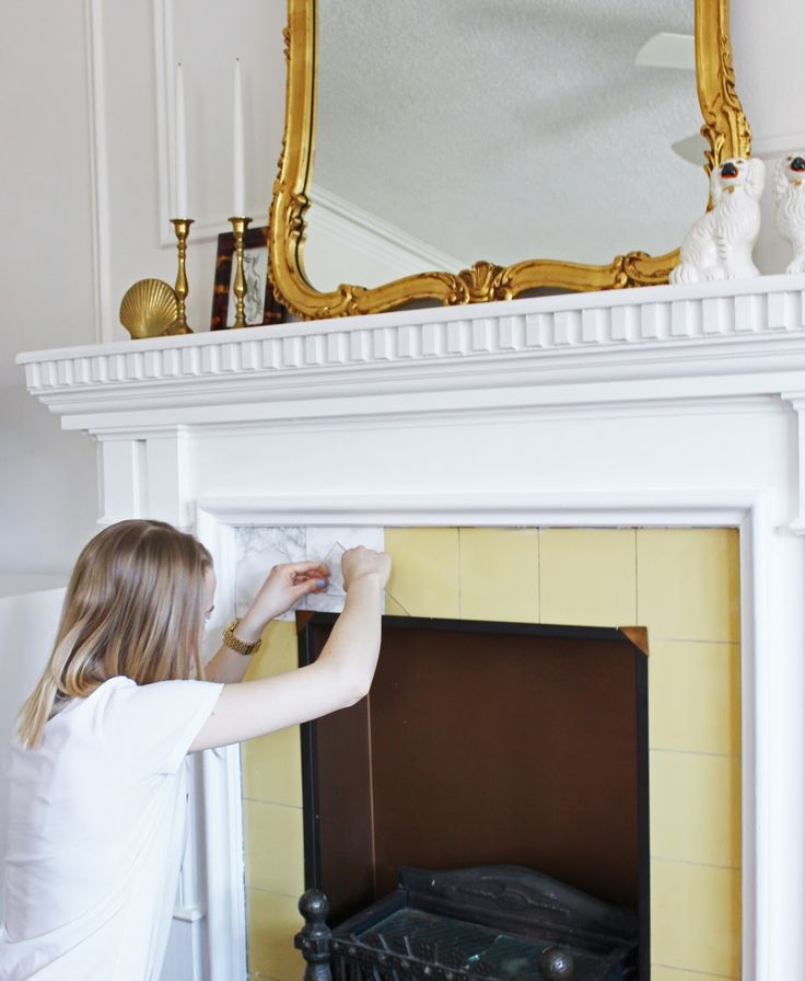 Tiffany Leigh Interior Design: Fireplace Facelift: A Rental Friendly 'Marble' Makeover