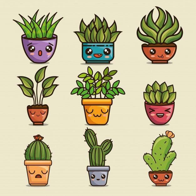 Cute Lovely Kawaii House Plants Cartoons Premium Vector Freepik Vector Background Flower Abstract Card Plant Cartoon Cute Doodle Art Cute Drawings