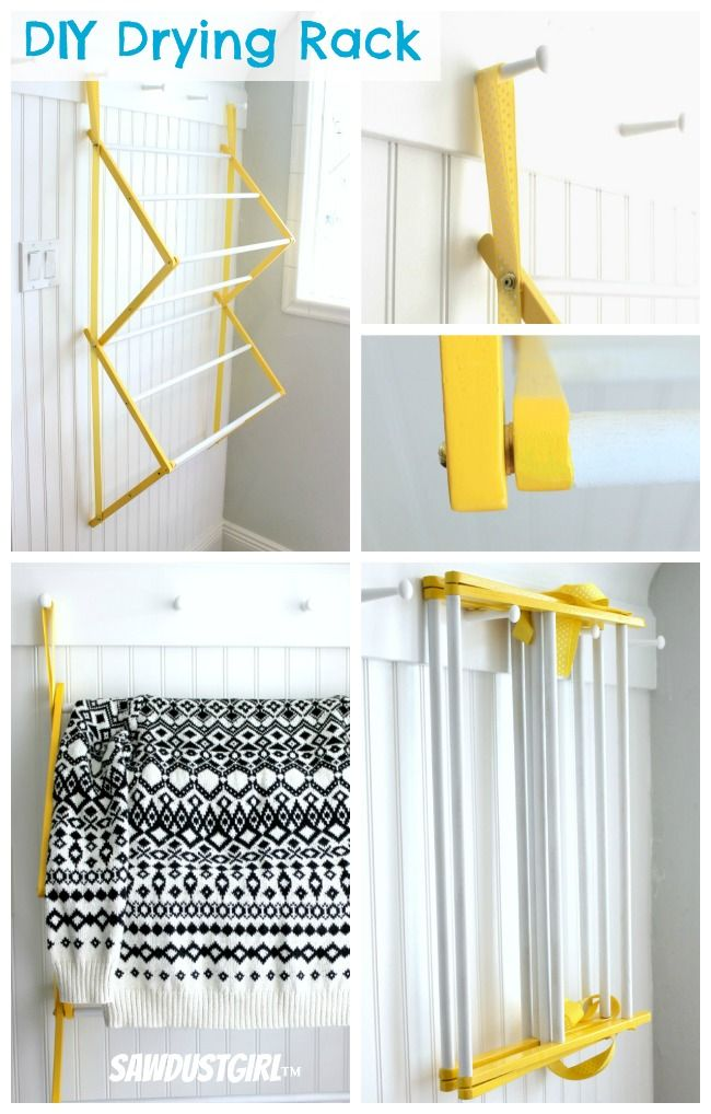 DIY Drying Rack from http://sawdustgirl.com - This is an awesome laundry rack and a nice tutorial.