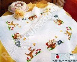 Комплект для вышивания Vervaco (скатерть Котята) 80х80 см.