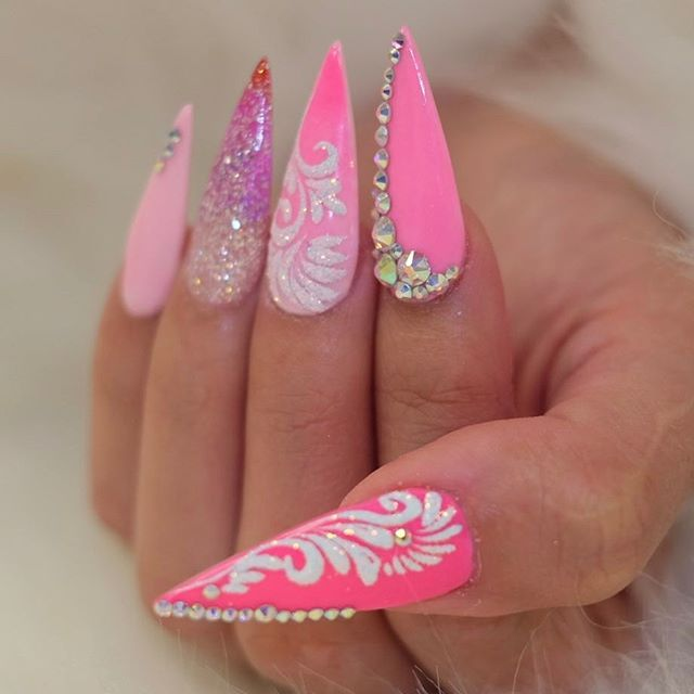 Stiletto Nails Pink And Purple Ombre Bling And Nail Art